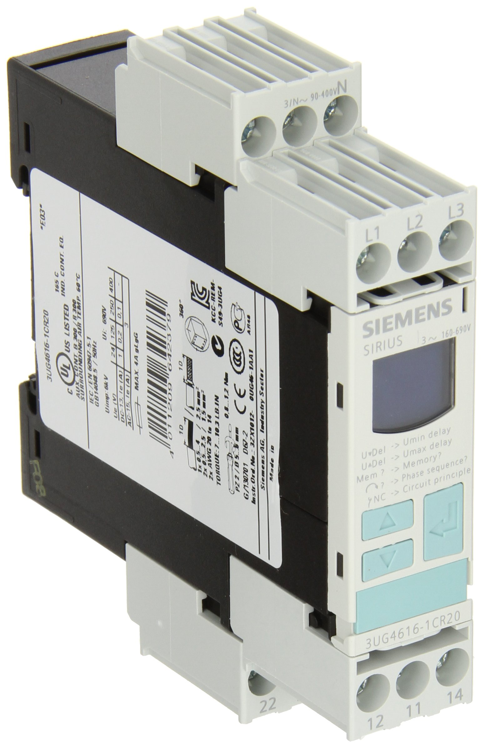 Siemens 3UG4615-1CR20 Monitoring Relay, Three Phase Voltage, Insulation Monitoring, 22.5mm Width, Screw Terminal, 1CO For Vmin and Vmax Contacts, 0-20s For Vmin and Vmax Delay Time, 160-690 Line Supply Voltage by SIEMENS