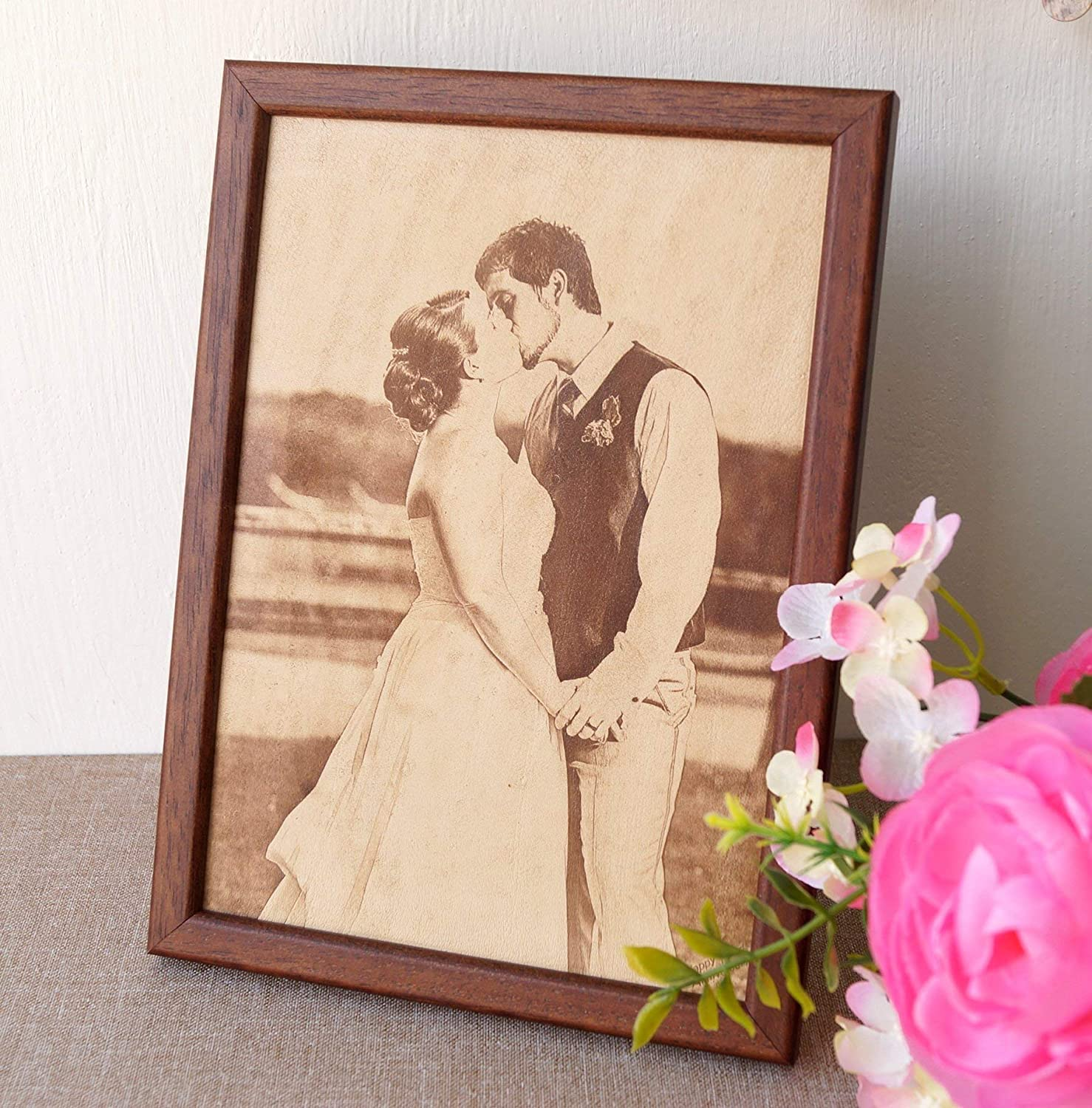 custom engraved framed picture unique gift.Engraved photograph on real leather, 3rd wedding anniversary gift idea leather engraving