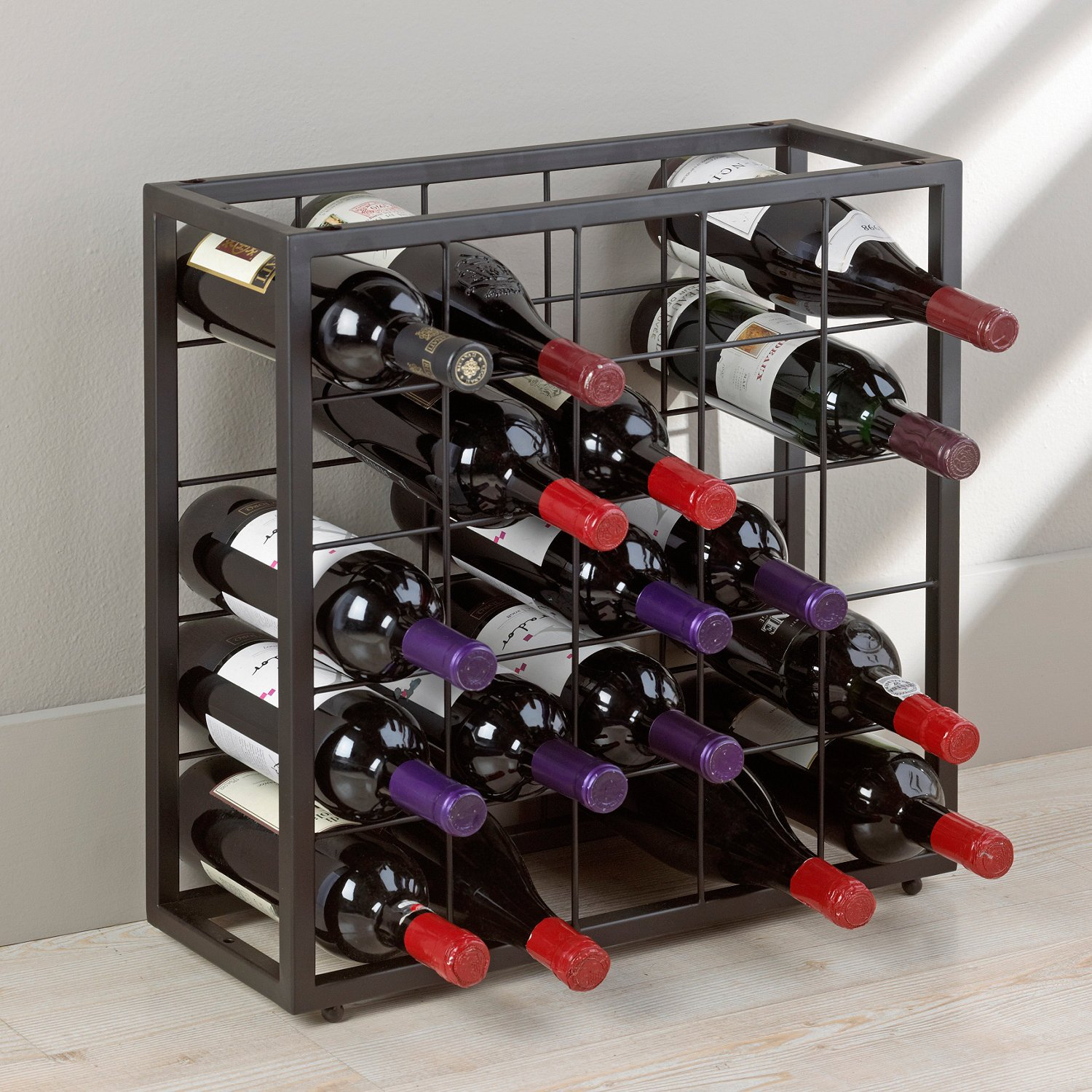 Wine Enthusiast Black Steel 25 Bottle Stackable Grid