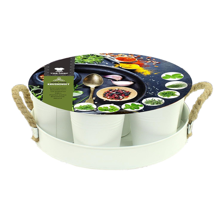 geschenkartikel-shopping Kräutergarten Set mit 7 Samensorten in Zink-Eimerchen mit Tablett weiß