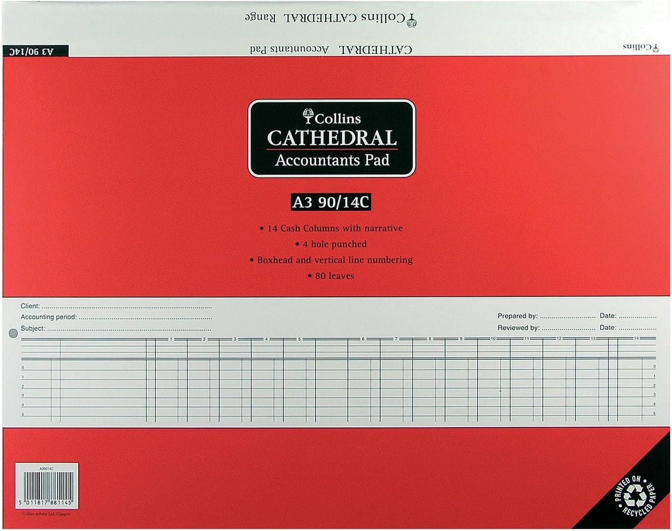 Collins A3//90//14C A4 14 Cash Columns Accountant Pad