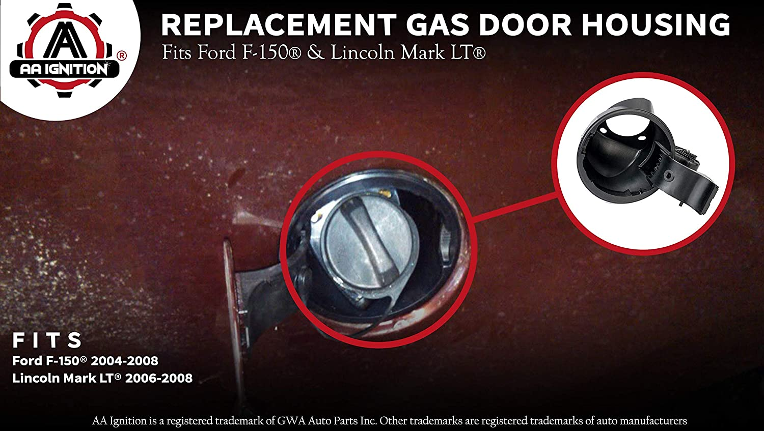 Fuel Filler Door Housing Pocket Assembly Gas Tank Cap Door Hinge Fits Ford F150 and Lincoln Mark LT Model Years 2004-2008 924-801 924801 Renewed Replaces# 4L3Z-9927936-BA 4L3Z9927936BA