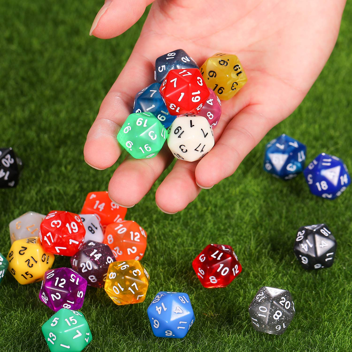 Color Set 5, D6 TecUnite 25 Pieces Polyhedral Dice Set with Black Pouch for DND RPG MTG and Other Table Games with Random Multi Colored Assortment