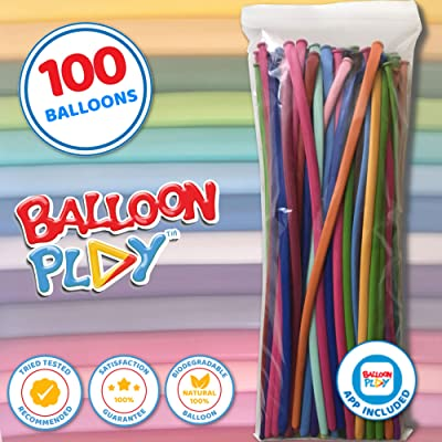 100 Long Balloon Animals Balloons Plus Bonus Balloon App | Balloon Animal kit for Balloon Creation, Twisting Animal Balloons Comes Packed Nozzle up by BalloonPlay: Toys & Games