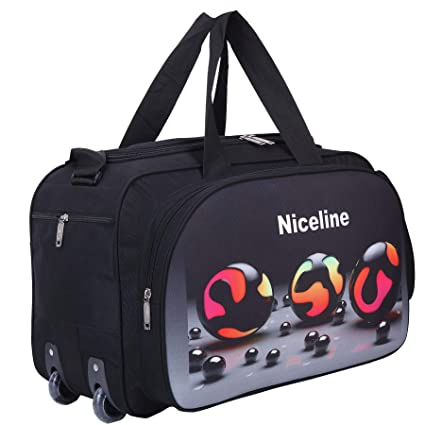 Nice Line Waterproof Polyester Printed Lightweight 40 L Luggage Travel Duffel  Bag with 2 Wheels(Expandable)-Black 3D  Amazon.in  Bags f5b7b0d440b5e