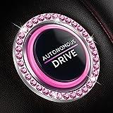 Bling Car Decor Crystal Rhinestone Ring Emblem Sticker, Bling Car Accessories for Women, Car Interior Decoration, Push to Sta