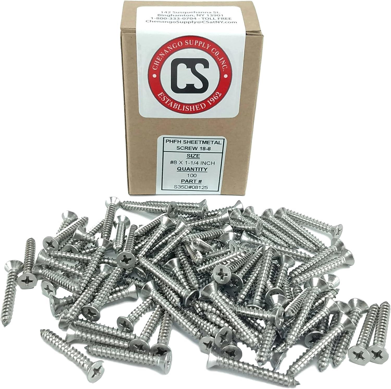 #8 x 3//4 #8 X 3//4 Stainless Phillips Flat Head Sheetmetal Screw 100 Sheet Metal Screws 1//2 to 2 in Listing 82 Degrees