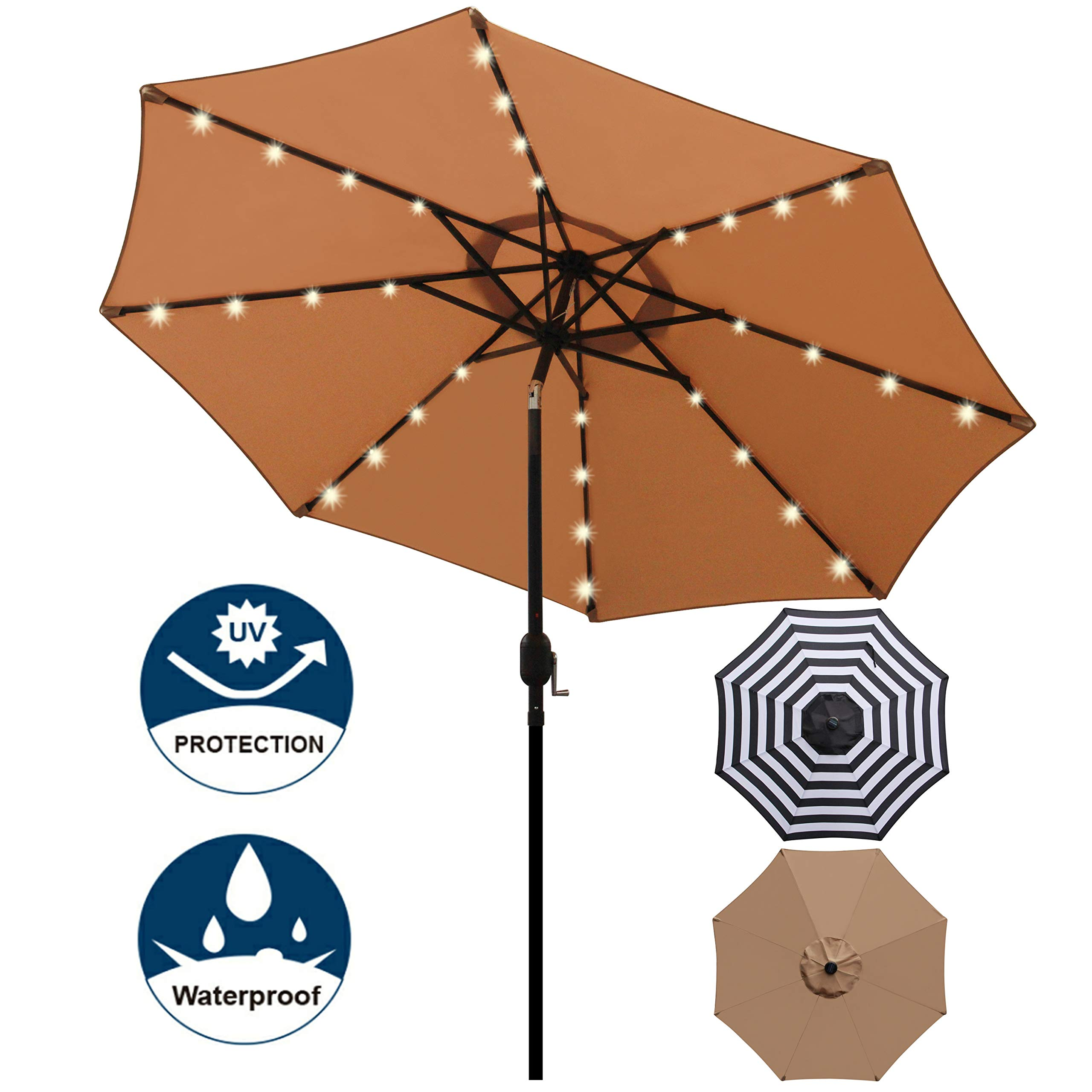 Blissun 9 ft Solar Umbrella, 32 LED Lighted Patio Umbrella, Table Market Umbrella, Outdoor Umbrella for Garden, Deck, Backyard, Pool and Beach (Tan) by Blissun