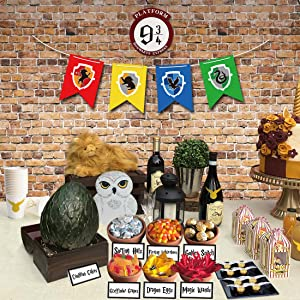 Magical Wizard Party Candy Bar Decoration Kit, Sign, Banner, Stickers and Candy Labels for HP Themed Birthday Baby Shower Party Decorations