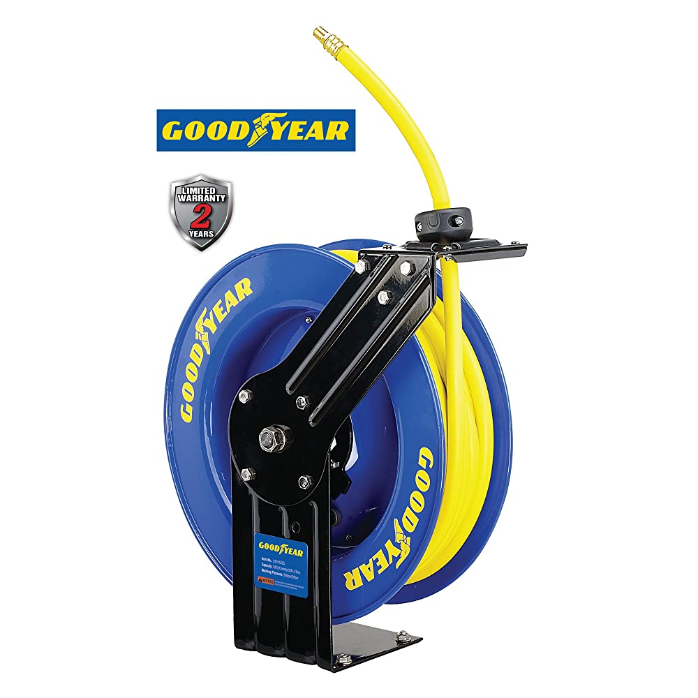 Goodyear L815153G Steel Retractable Air Compressor/Water Hose Reel with 3/8 in. x 50 ft. Rubber Hose, Max. 300PSI Review