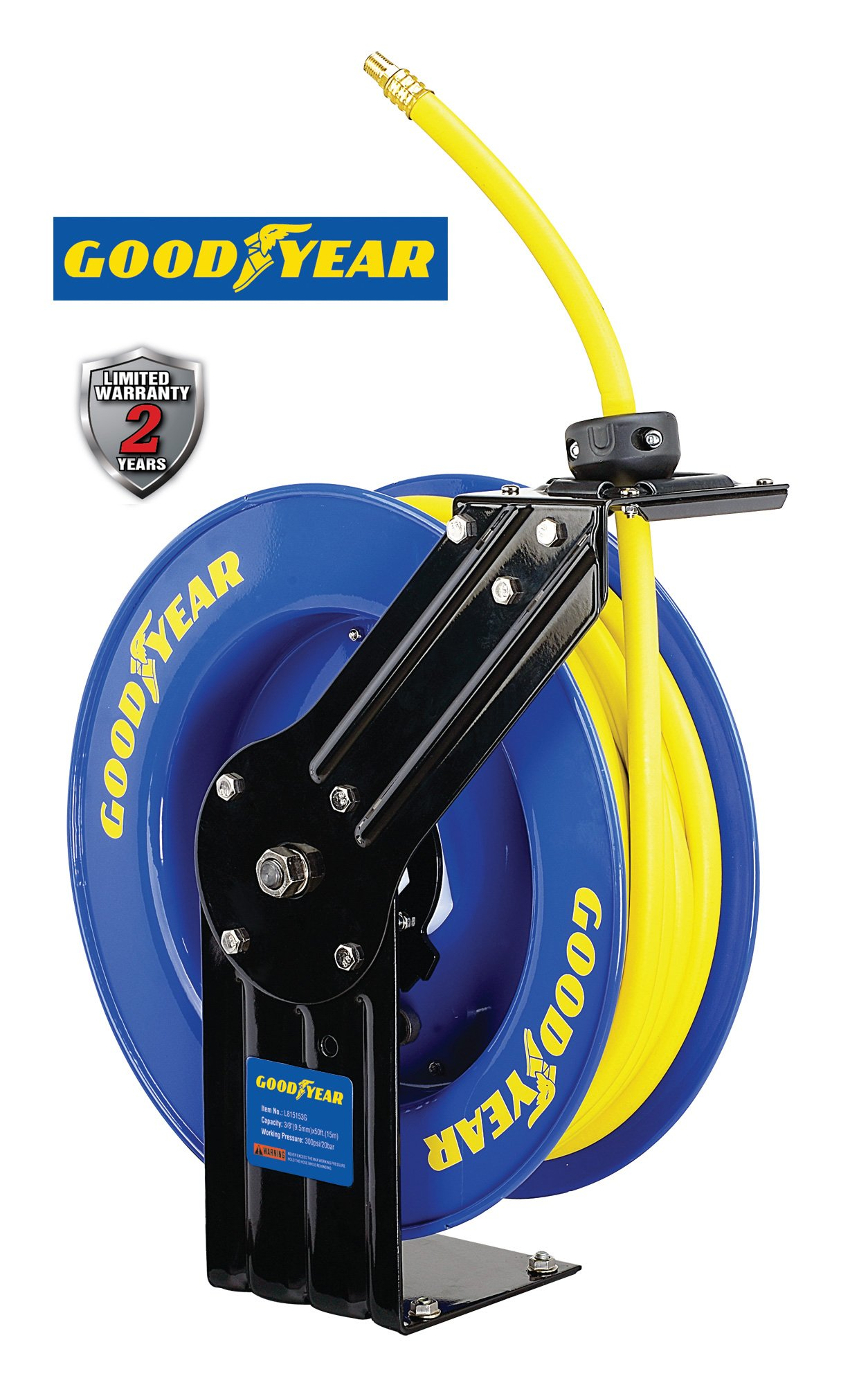 Goodyear L815153G Steel Retractable Air Compressor/Water Hose Reel with 3/8 in. x 50 ft. Rubber Hose, Max. 300PSI