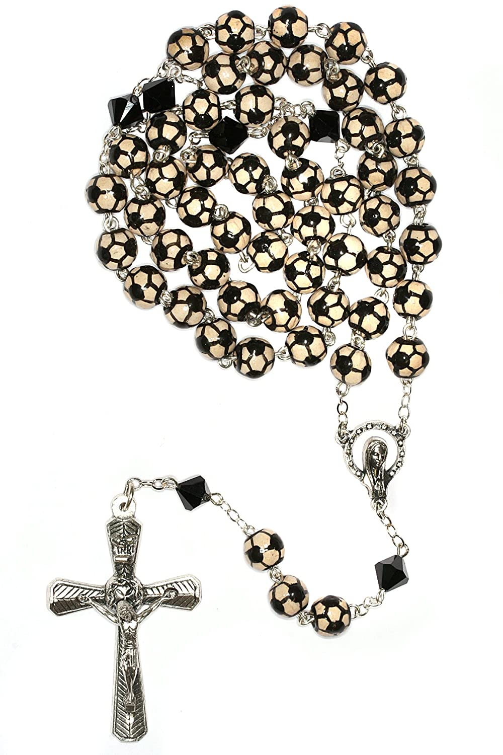 Futbol Rosary Soccer Rosary Sport Rosary made with Ceramic Sport beads and Swarovski Crystal elements