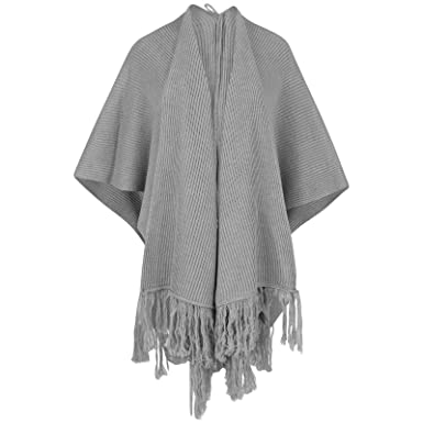 Uptown Girl New Womes's Ladies Ribbed Cape Shawl Wrap Poncho with