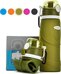 Collapsible Water Bottle for Travel 750ml/26floz,Reusable Foldable Leak Proof,Cruise Outdoors Sports Camping Hiking Gym Fitness Training,Food-Grade Silicone BPA Free/Non-Toxic,Folding Roll Up Portable