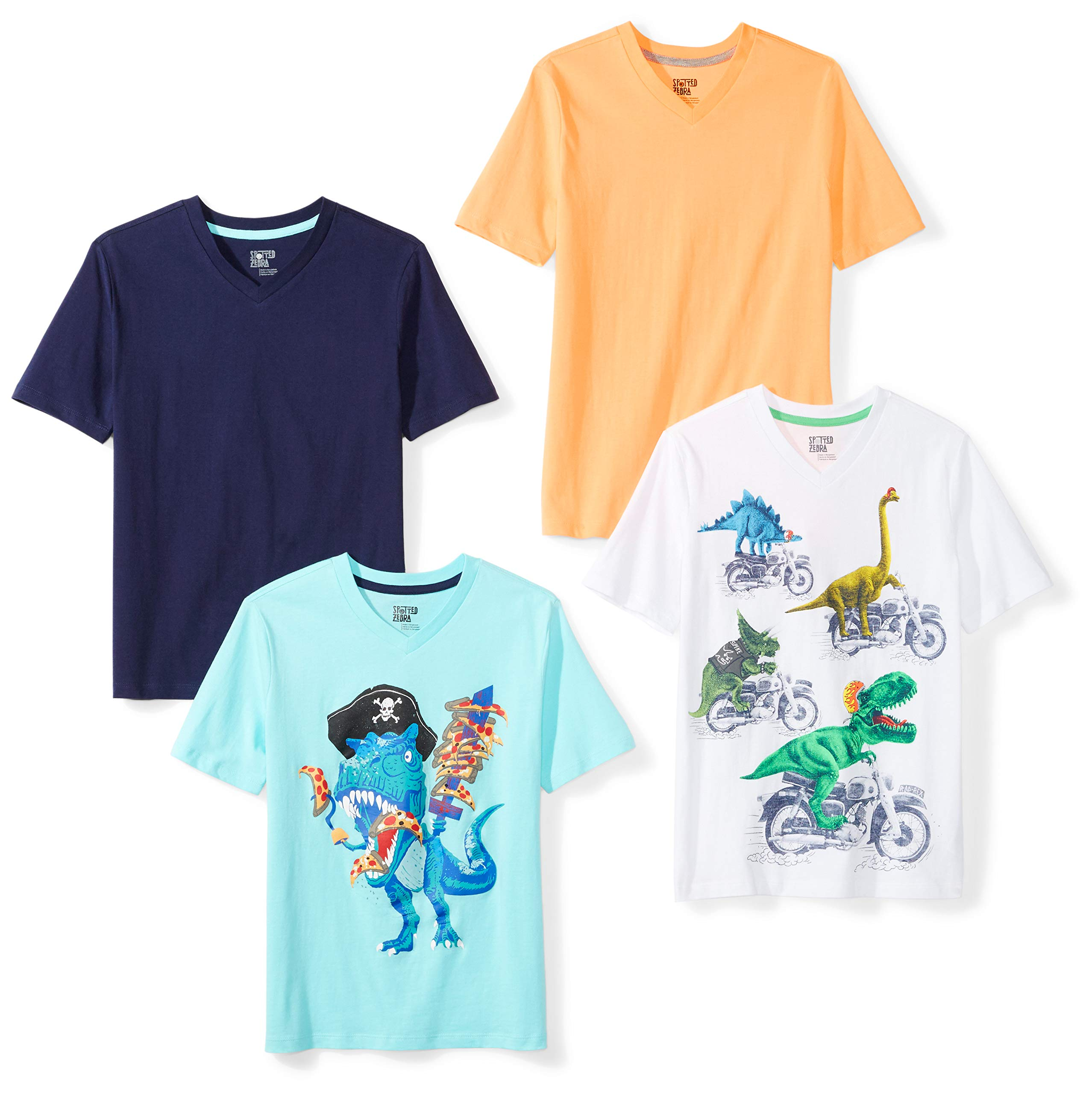 Amazon Brand - Spotted Zebra Boys' Little Kid 4-Pack Short-Sleeve V-Neck T-Shirts, Dinosaurs, Small (6-7)
