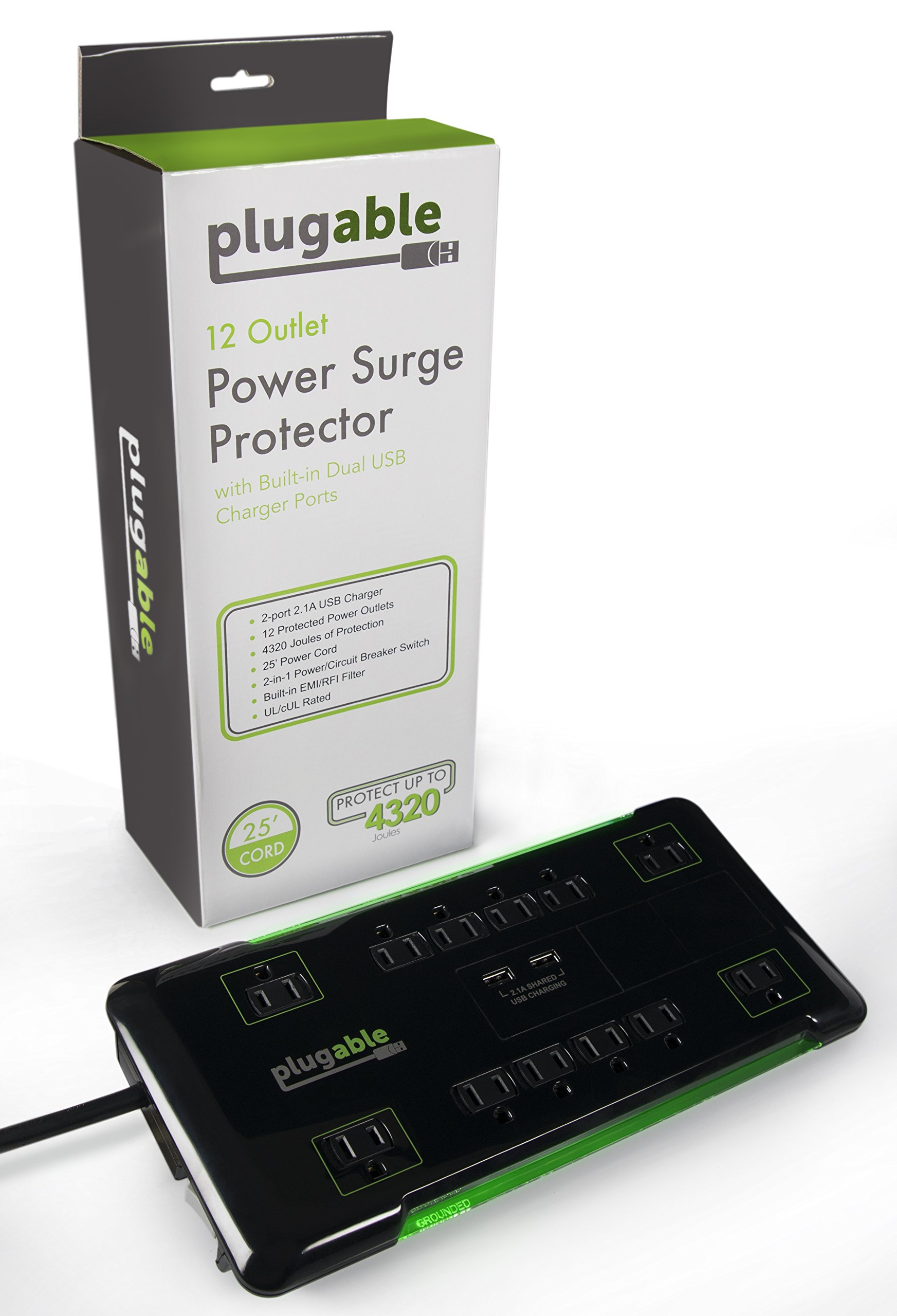 Plugable 12 AC Outlet Surge Protector - 25 foot power cord (Black) by Plugable (Image #5)