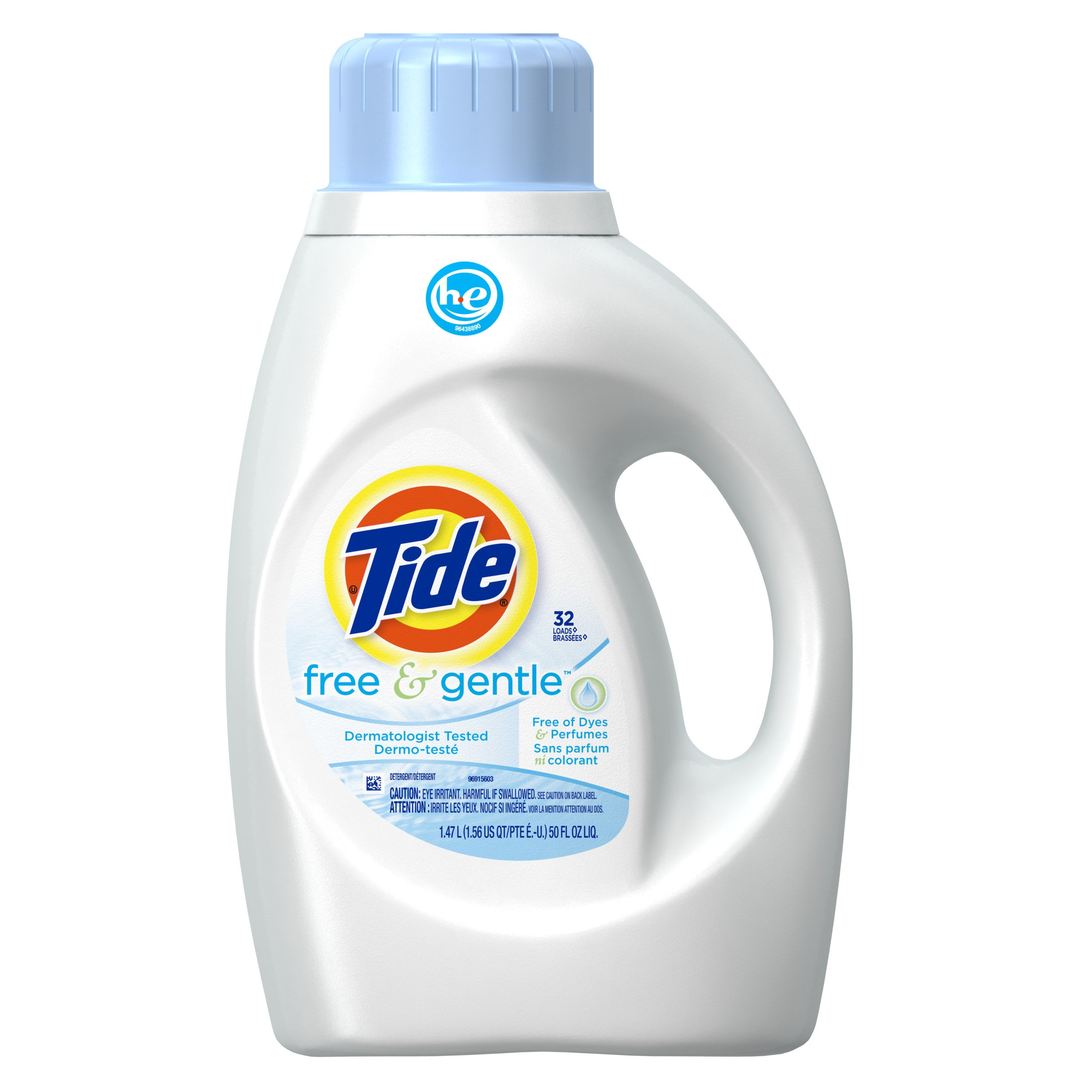 Tide Free & Gentle HE Turbo Liquid Laundry Detergent, Pack of 2, Unscented, 1.47 L (32 Loads)