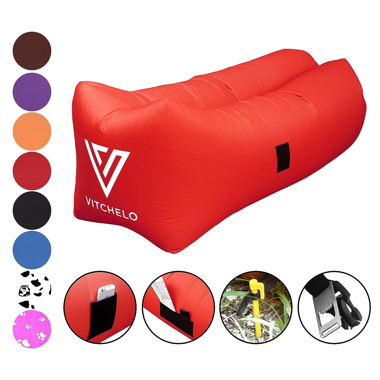 vitchelo Inflatable Lounger、ソファ、ソファ、椅子、シート& Airバッグ。リップストップLazyバッグ最適な用途キャンプ、ビーチ、公園。&祭400lbsまでサポート。8.2 Ftロング。ポータブル、折りたたみ式& Tear Free B073HGXVZB Red Red