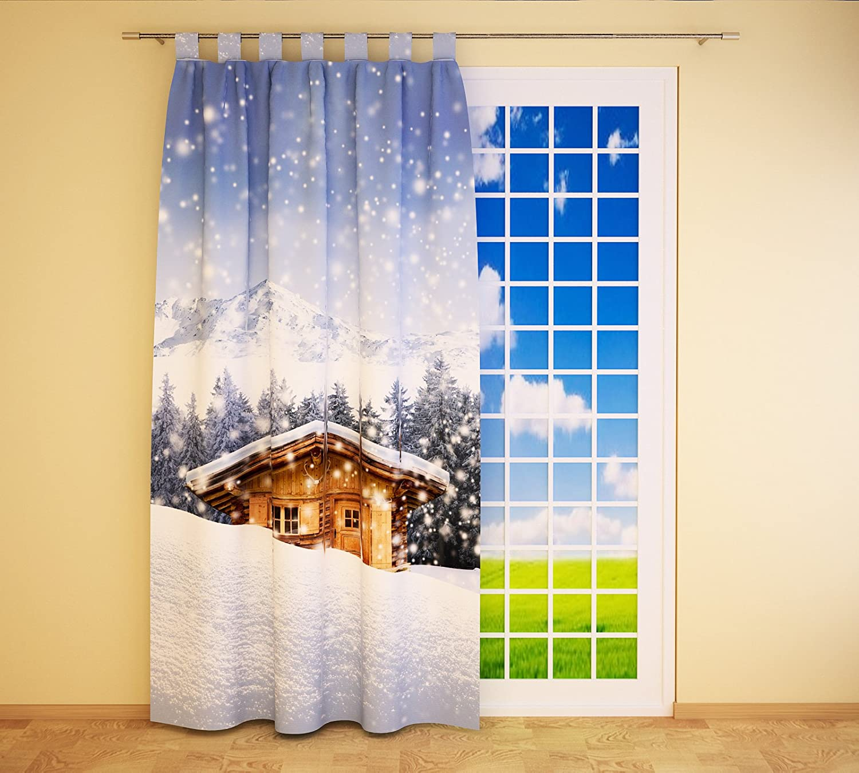 Clever-Kauf-24 Schlaufenschal Vorhang Gardine Hütte im Schnee BxH 145 x 245 cm   Sichtschutz   Lichtdurchlässiger Schlaufenvorhang