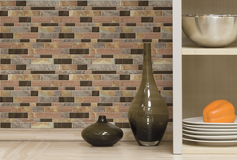 4 Per Pack RoomMates StickTILES Modern Long Stone Peel and Stick Backsplash Tiles
