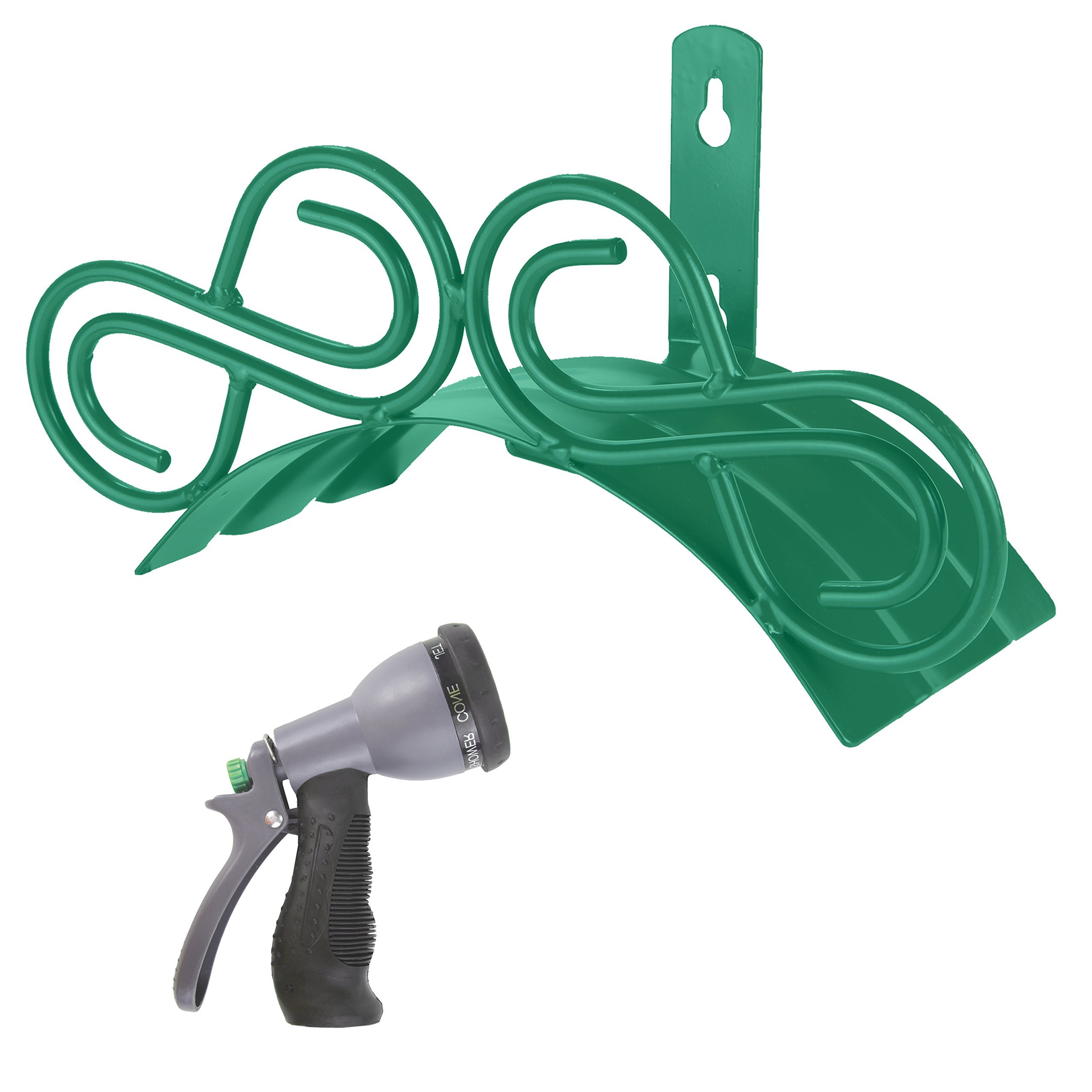 Decorative Garden Hose Holder. Wall Mount Hanger Including Spray Nozzle.  (Green)