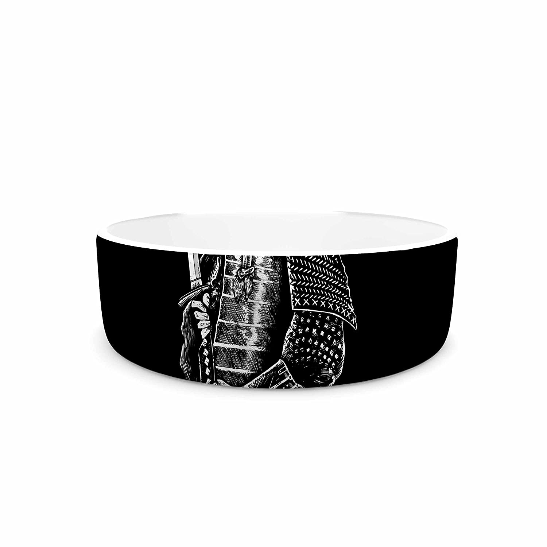 KESS InHouse Barmalisirtb Samuraiz Red White Digital Pet Bowl, 4.75  Diameter