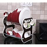 TIED RIBBONS 2 Tier Kitchen Sink Dish Drainer Drying Rack Washing Holder Large Plastic Basket Organizer with Tray