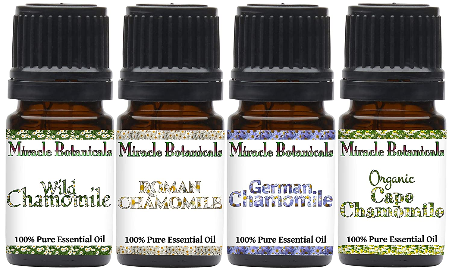 Miracle Botanicals Chamomile Essential Oil Sampler - Set of 4 100% Pure Therapeutic Grade Essential Oils - German Chamomile, Roman Chamomile, Organic Cape Chamomile, and Wild Chamomile -(4)5ml