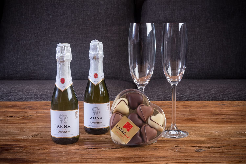 Bubble Pack Romántico cava Anna de Codorniu 2x20 cl. + caja de bombones con forma de corazón LOVERSpack: Amazon.es: Alimentación y bebidas