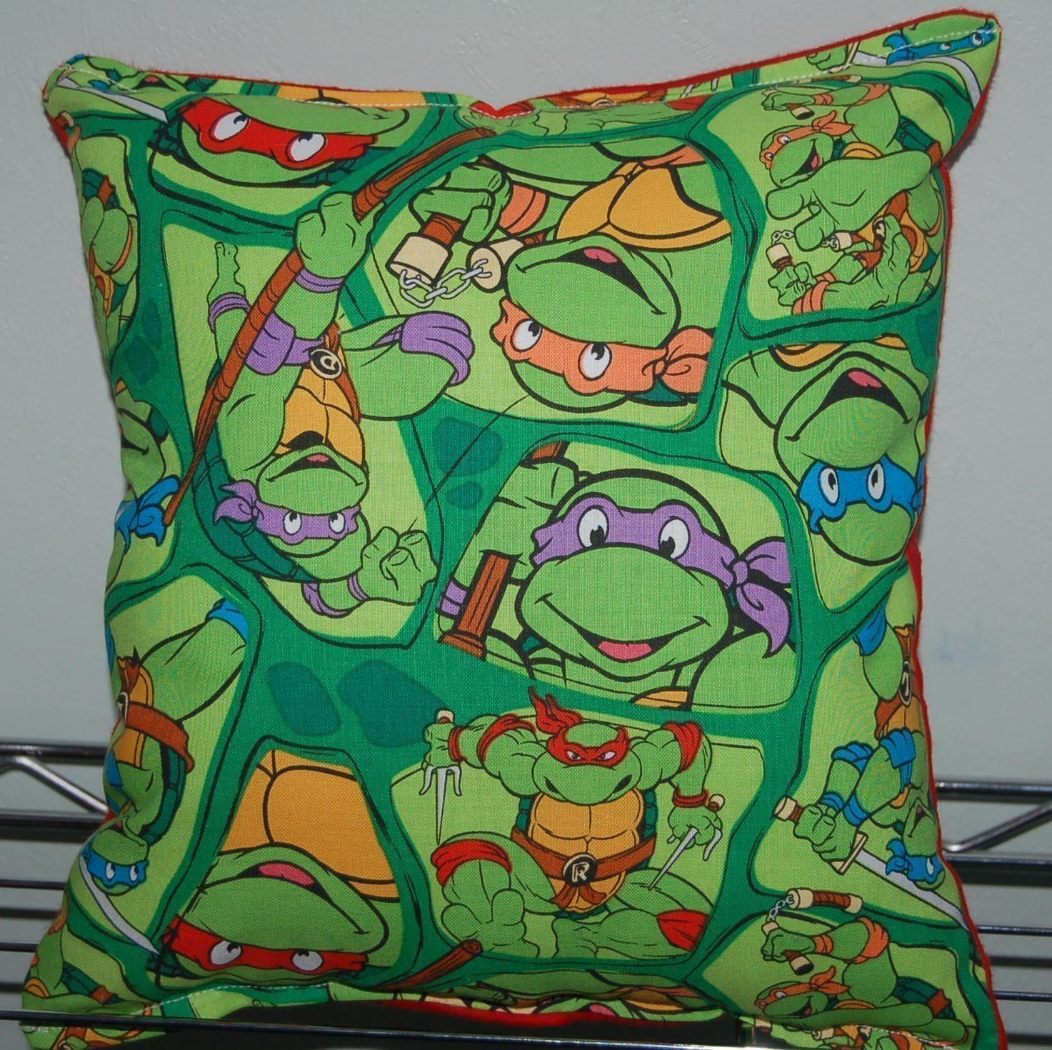 "Ninja Turtles Pillow TMNT Cut Outs Pillow Leonardo , Michelangelo , Raphael USA Pillow is approximately 10"" X 11"