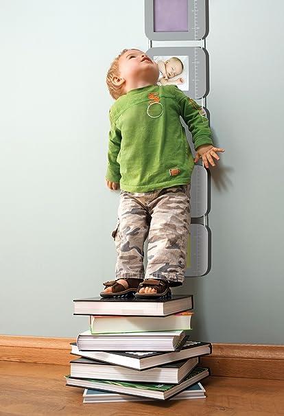Baby Art Height Print Chart - Tabla de crecimiento para fotos y huellas de mano o pie, color gris