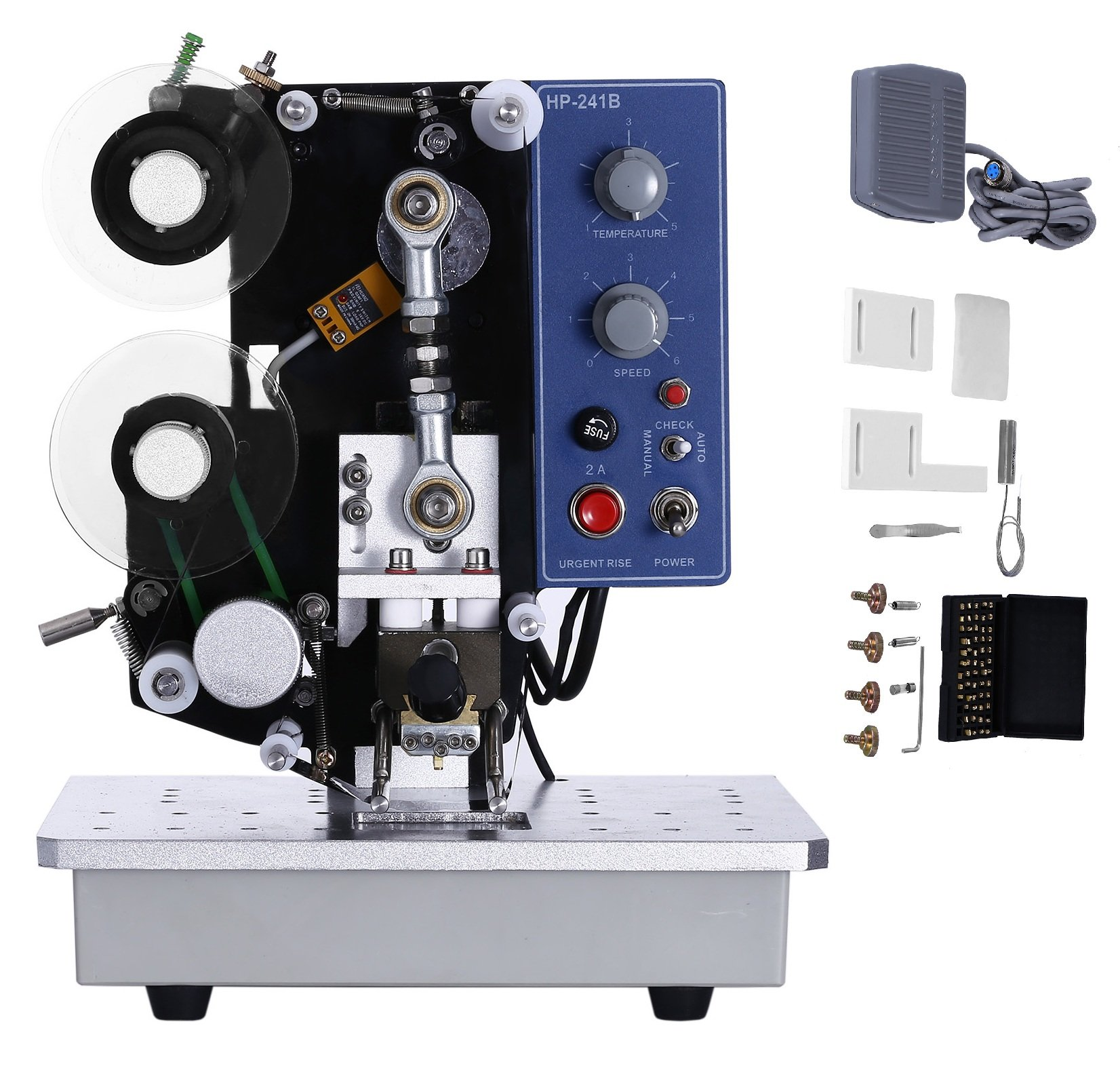 Superland HP-241B Semi-Automatic Electric Ribbon Coding Machine 200W Thermal Foil Stamp Printer 10~100times/min Foil Printing Machine 110V (HP-241B) by Superland
