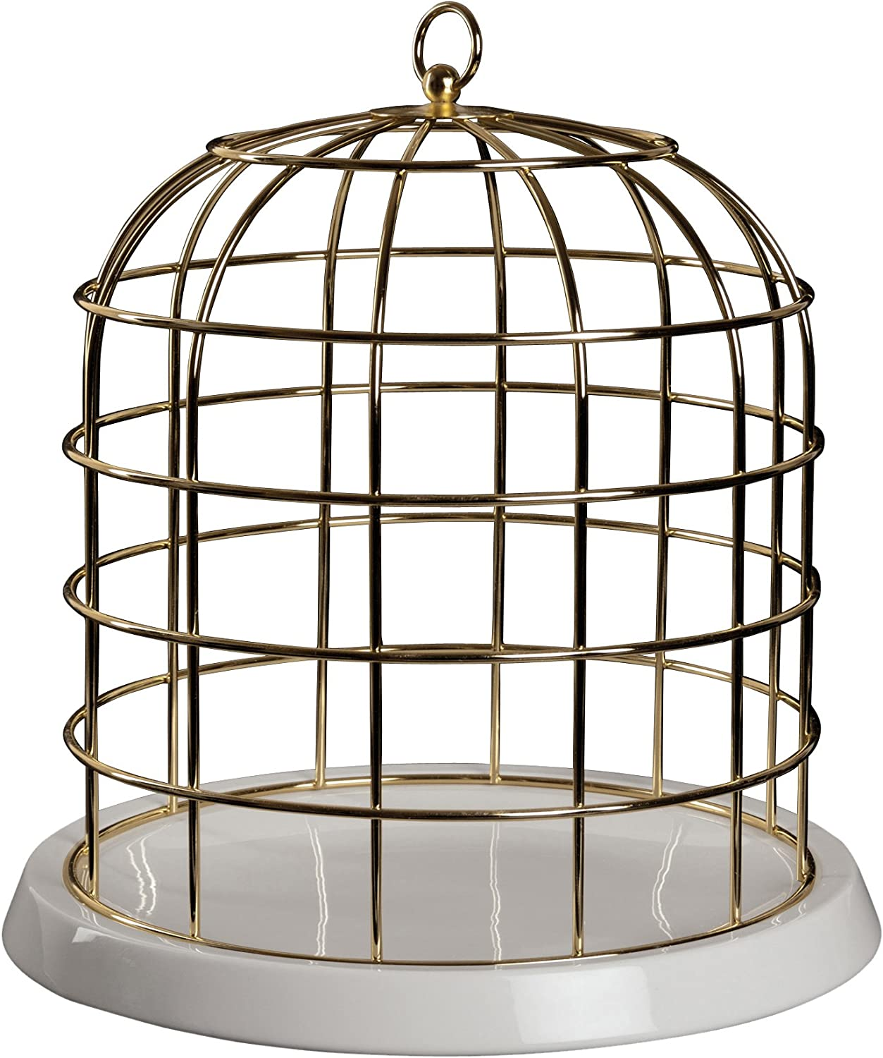 SELETTI Gold Metal Cage with Porcelain Plate twitable cm Diameter.34/H.36