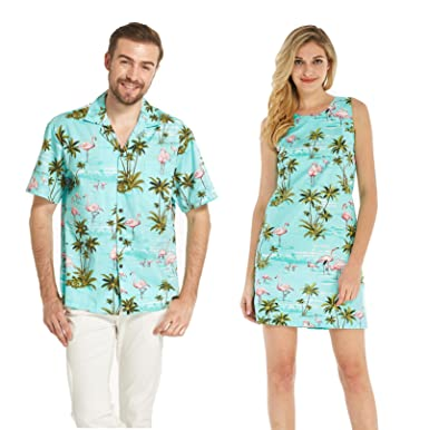 f4d5d20d Made in Hawaii Couple Matching Hawaii Luau Aloha Shirt Tank Dress in Pink  Flamingos in Turquoise at Amazon Men's Clothing store: