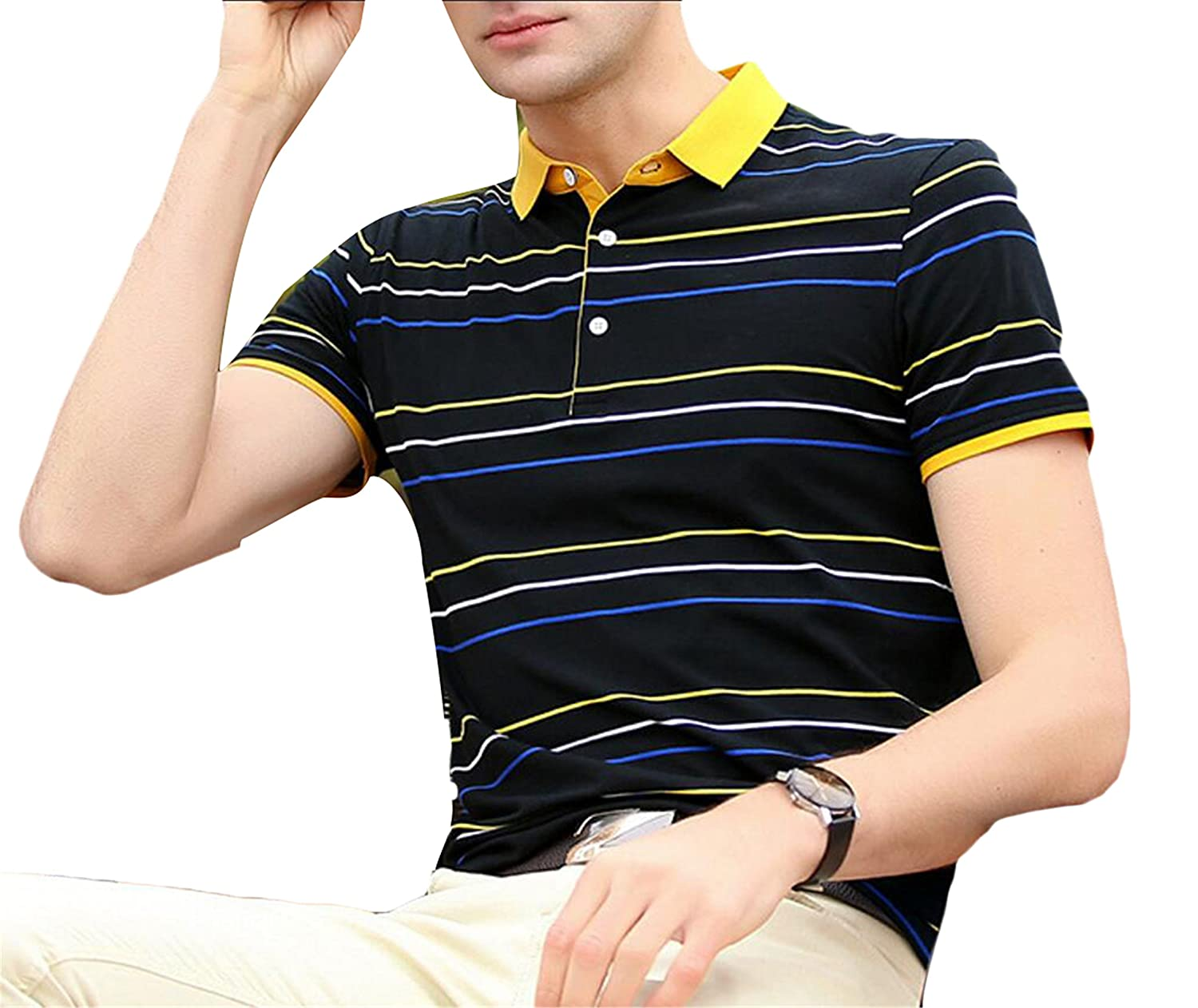 Qiangjinjiu Mens Fashional Slim Fitted Stripes Turn Down Collar Short Sleeve Polo Shirts