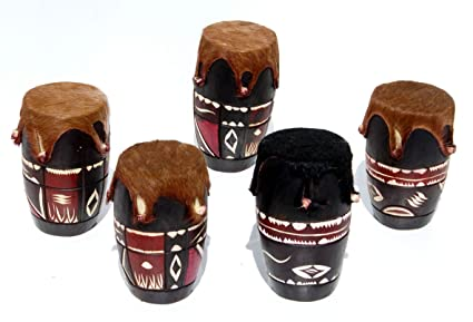 Tambor africano de madera y cuero, Condecorado, Original de los instrumentos musicales de percusión