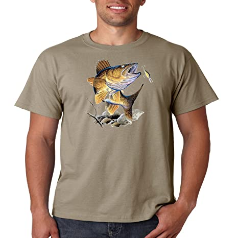 5955d67b Amazon.com: Juiceclouds Fishing T Shirt Walleye Mens Tee S-5XL: Clothing