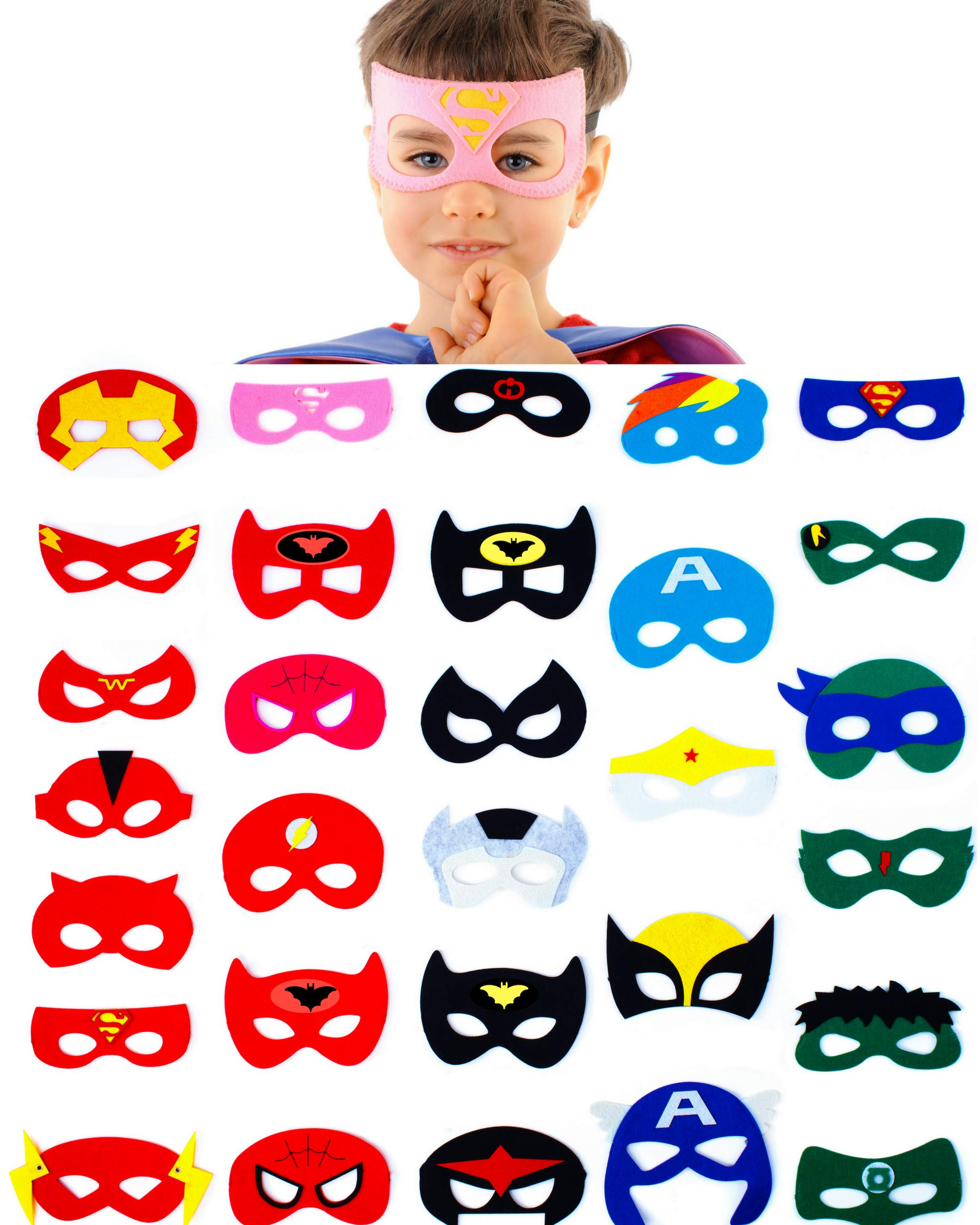 - 81FgYvgGzdL - 30 Superhero Masks Kids-Super Hero Party Supplies Justice League Birthday Favors