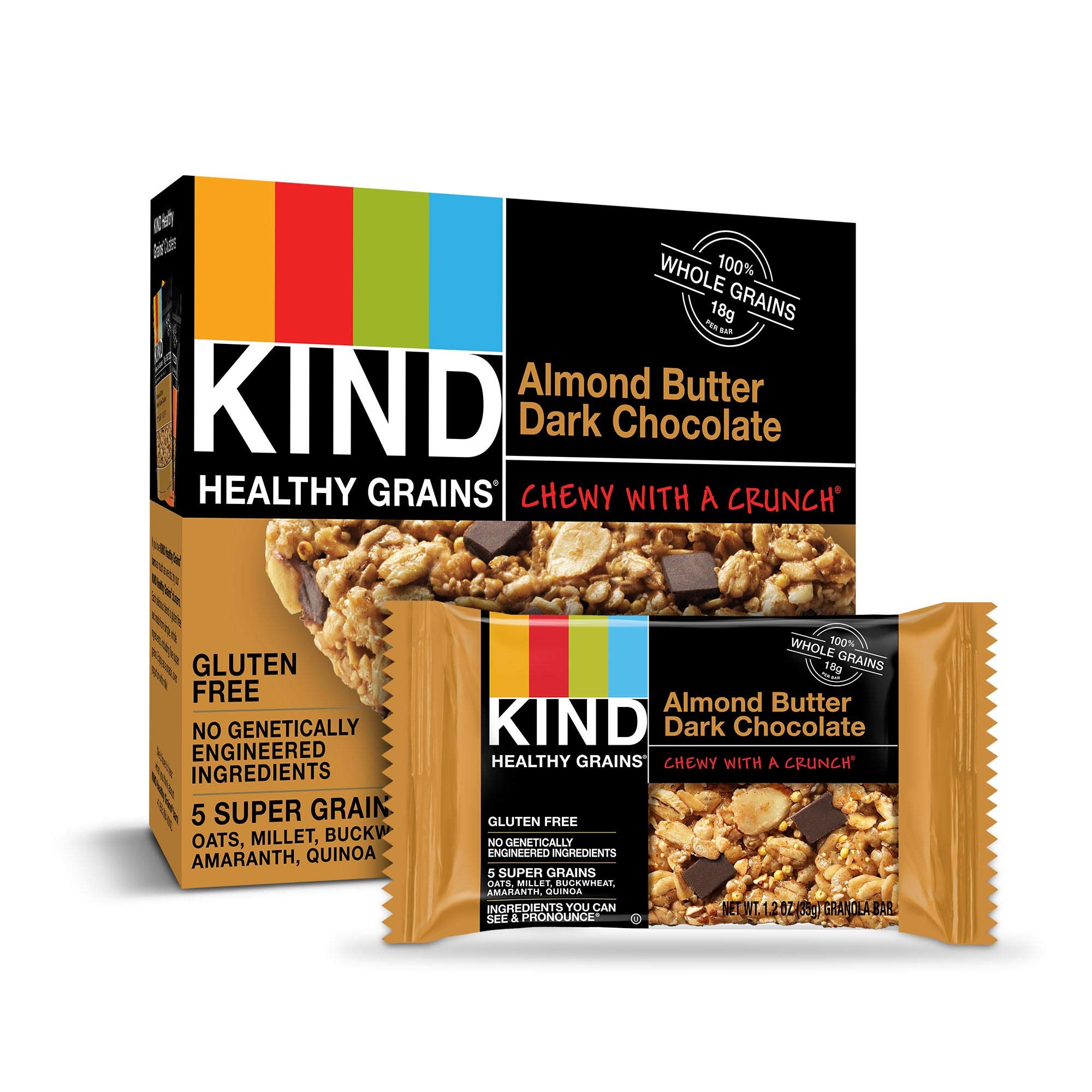 KIND Healthy Grains Granola Bars, Almond Butter Dark Chocolate, Gluten Free, 1.2 Ounce (Pack of 40) by KIND