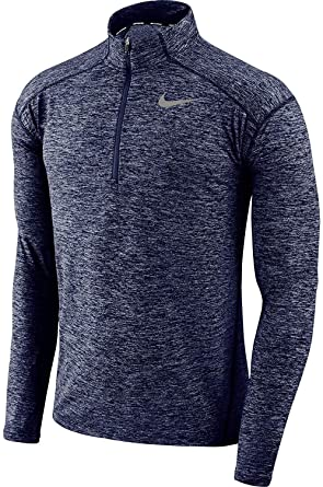 2b8531a5f23ae Nike Men's Element Dri-Fit Half Zip Running Shirt, Heather Blue/Reflective  Silver