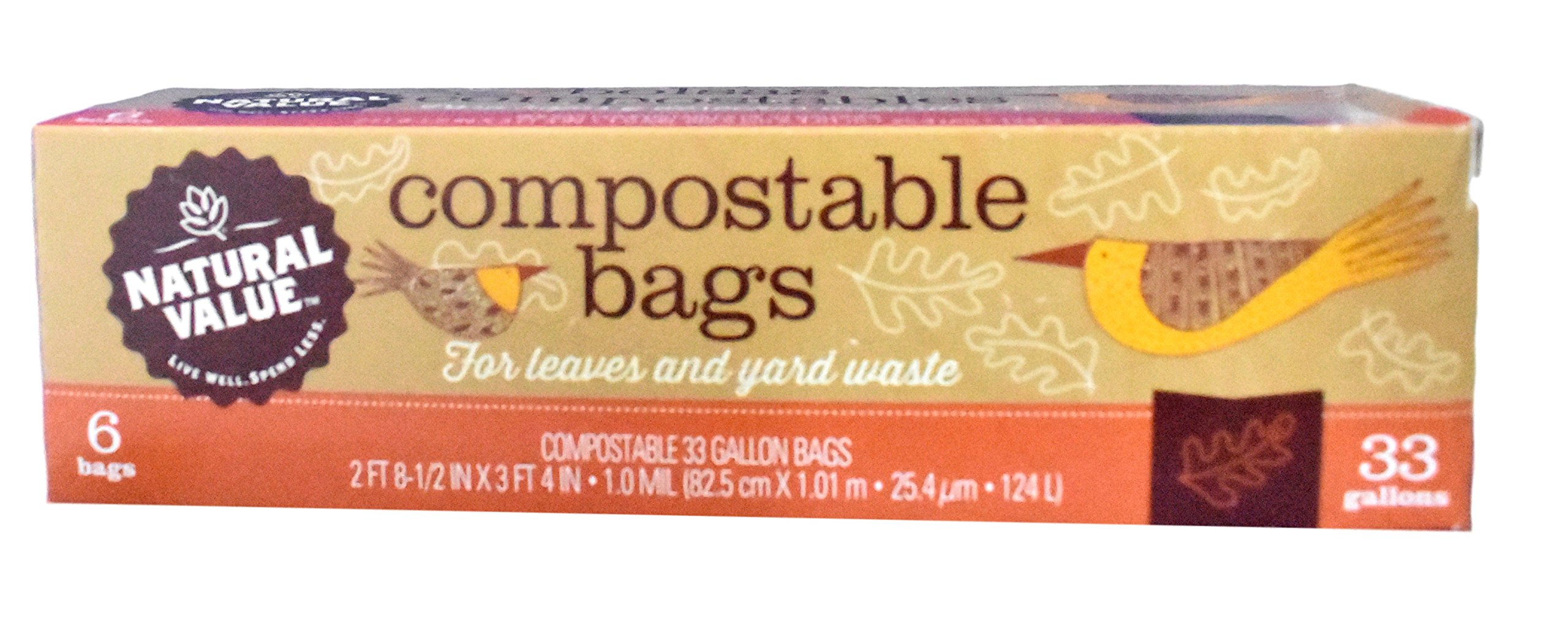 Natural Value - Compostable Yard Bags - 33 Gallon - 6 Bags