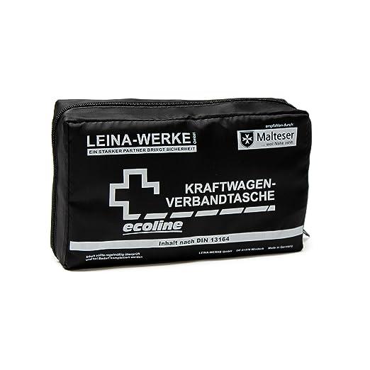 Leina Werke 11034 KFZ-Verbandtasche Compact Ecoline ohne Klett, Schwarz/Weiß