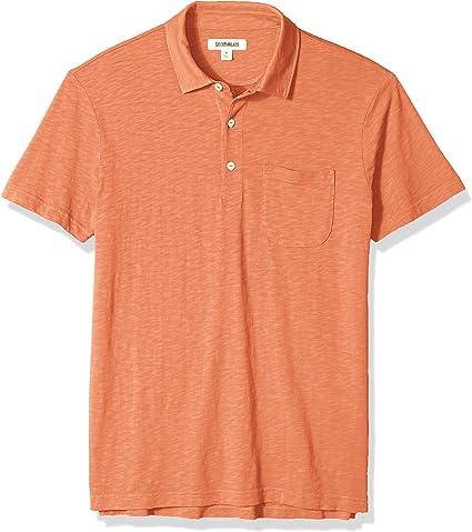 TALLA 51-53. Marca Amazon - Goodthreads Short-Sleeve Striped Slub Polo Hombre