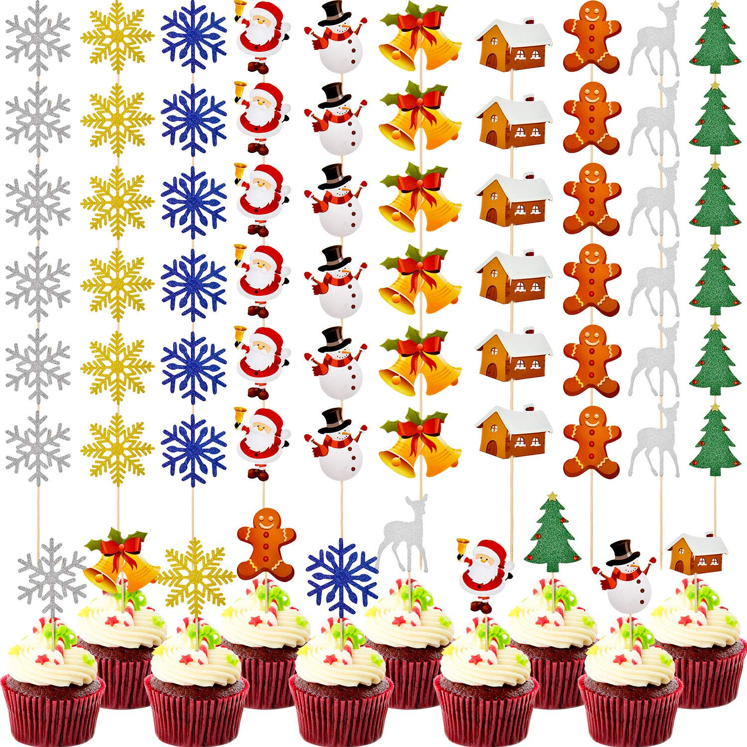 Boao 60 Pieces Christmas Cupcake Toppers Glitter Cake Picks Xmas Party Cupcake Cake Topper for Christmas Wedding Decoration Supplies, 10 Styles