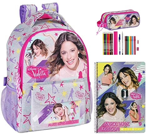 Disney Violetta Mochila, Caja de lápices y bloque, Gris