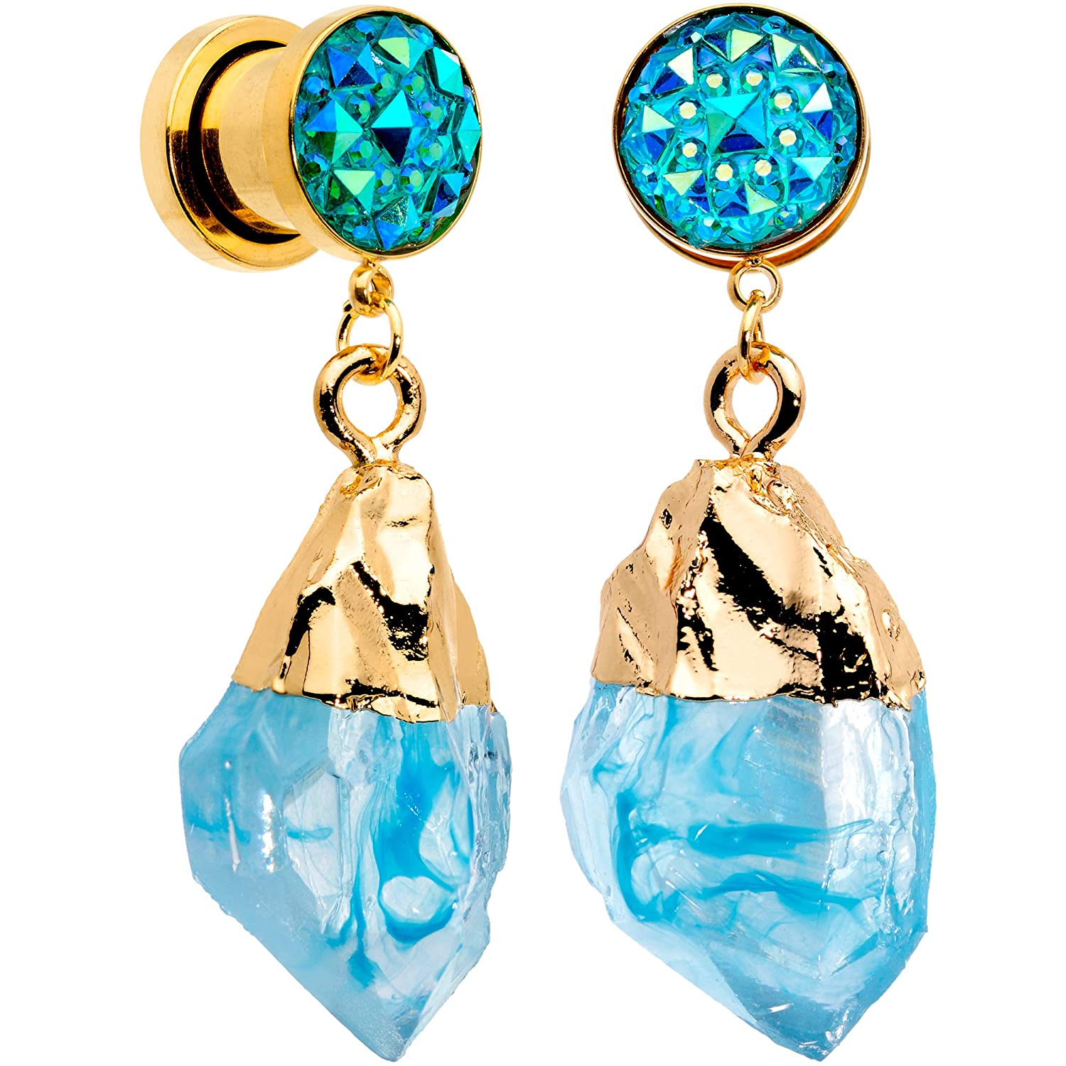 Body Candy 2Pc Gold Tone Plated Steel Screw Fit Plug Blue Accent Dangle Ear Plug Gauges Set of 2 10mm-16mm
