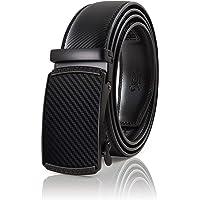 SIGLO® Cinturón para Hombres de Piel con Hebilla Automática – Diseño sin Agujeros – Cinturón de Clic Ajustable – Se adapta a tamaños 30-44 – Corte a su Ajuste Exacto – Disponible en Negro y Café