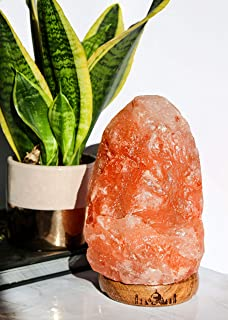 Dimmer Switch /& Long Lasting Bulb inc 2-4KG Natural with Wooden Base Natural Himalayan Pink Salt LAMP 100/% Pure /& Natural Pink Rock Hand Crafted from Our Mine in The Himalayas