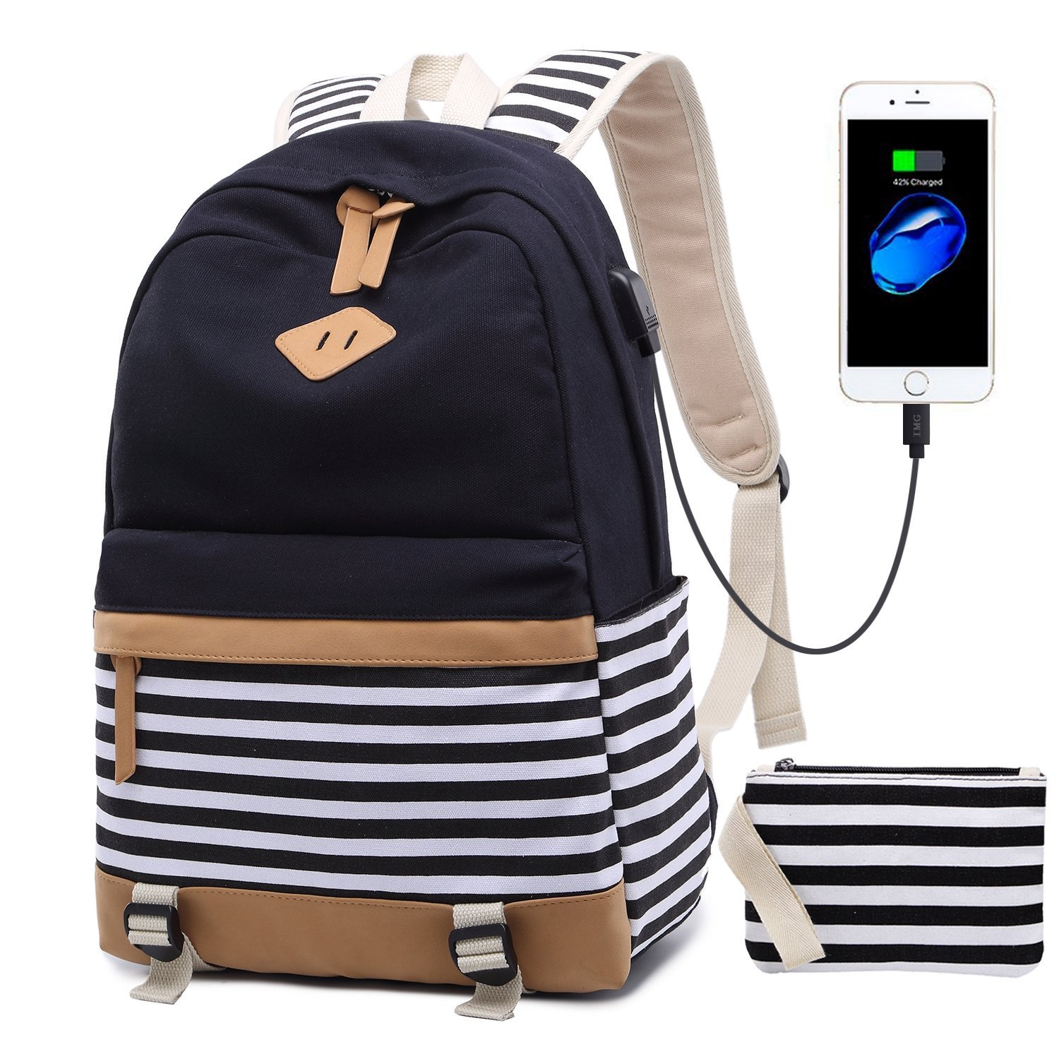 Canvas Bookbags School Backpack Classic Schoolbag College Laptop USB Backpack Travel Camping Backpack for Teen Girls and Women Black