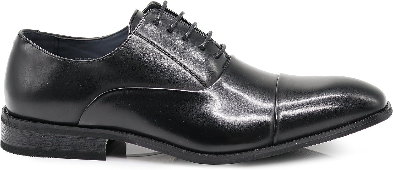 FLR Mens Cap Toe Straight Cap Classic Formal Lace Up Oxfords Dress Shoes